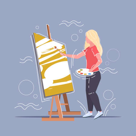 female painter using paintbrush and palette woman artist standing in front of easel art creativity hobby creative occupation concept full length vector illustration Çizim