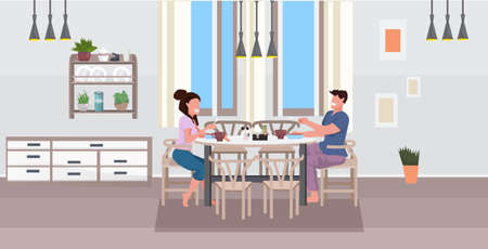 young couple having breakfast man woman sitting at table eating food together modern home kitchen interior flat horizontal full length vector illustration