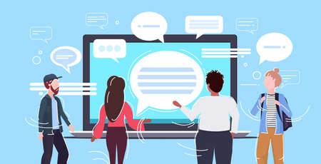 people using laptop computer messenger application chat bubble communication concept rear view men women chatting online speech conversation horizontal portrait vector illustration