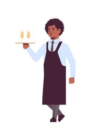 professional waiter holding serving tray with two glasses of champagne african american man restaurant worker in uniform carrying alcohol drinks flat full length white background vertical vector illustration Иллюстрация
