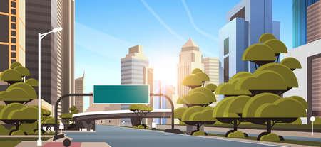 asphalt road with information banner traffic signs city skyline modern skyscrapers cityscape sunshine background flat horizontal vector illustration