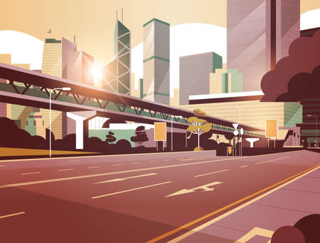 highway road to city skyline with modern skyscrapers and subway cityscape sunset background flat horizontal vector illustration
