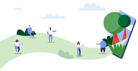 people using gadgets mix race men women walking outdoor having fun digital technology addiction concept smartphone screen mobile app sketch full length horizontal vector illustration