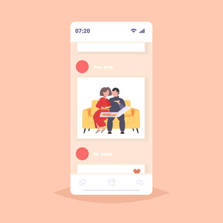 fat obese man woman sitting on couch eating pizza fast food unhealthy nutrition concept couple having fun relaxing on sofa smatphone app online mobile app flat full length vector illustration