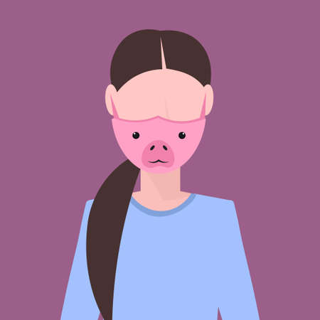 woman wearing protective mask with pig face smog air pollution virus protection concept girl profile avatar female cartoon character portrait flat vector illustration Illustration
