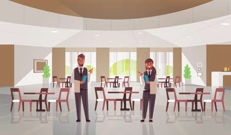 professional waiters couple standing together man woman restaurant workers in uniform holding notepad and towel taking order concept modern cafe interior flat full length horizontal vector illustration