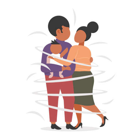 fat obese family standing together african american parents and child embracing overweight man woman with son having fun flat full length vector illustration
