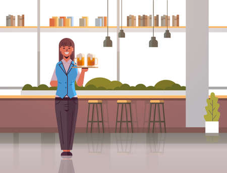 professional waitress holding serving tray with two glasses of beer woman restaurant worker in uniform carrying alcohol drinks modern pub interior flat full length horizontal vector illustration Ilustracja