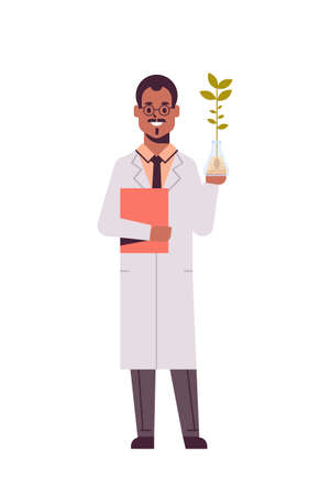 male scientist examining plant sample in test tube african american man with clipboard in uniform making experiment in genetic lab research science chemical concept vertical full length flat vector illustration