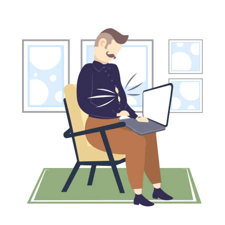 obese businessman with fat belly using laptop overweight business man sitting on armchair unhealthy lifestyle obesity concept flat full length vector illustration Illustration