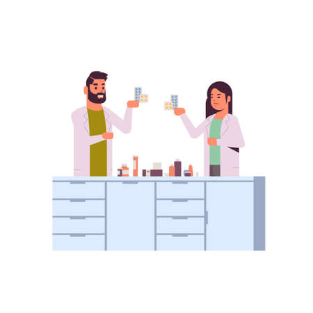 scientific researchers couple holding drugs packages man woman in uniform analyzing pills scientists making experiment in laboratory research science concept full length flat vector illustration