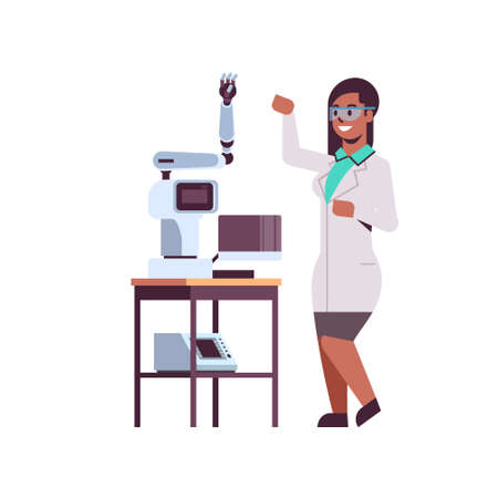 female scientist near industrial robotic arm african american woman in uniform with robot manipulator smart medical machine automatic technology concept full length flat vector illustration