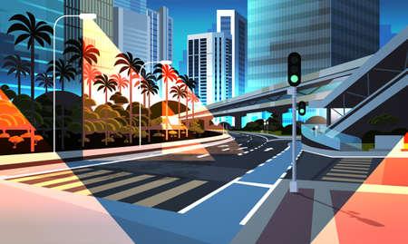 highway road night city street with modern skyscrapers bridge subway railroad urban cityscape background flat horizontal vector illustration