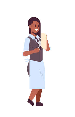 professional waitress polishing wine glass with towel african american woman restaurant worker in uniform flat full length white background vertical vector illustration Illustration