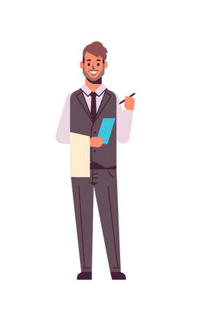 professional waiter making note man restaurant worker in uniform notepad and towel taking order concept flat full length white background vertical vector illustration
