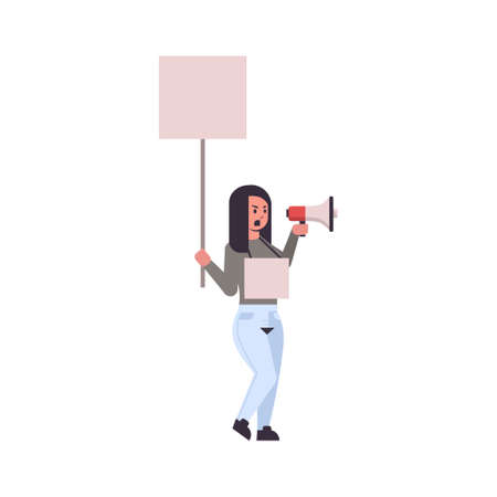 woman protester holding blank placard yelling into loudspeaker female activist with empty sign banner and megaphone protest demonstration concept flat full length vector illustration