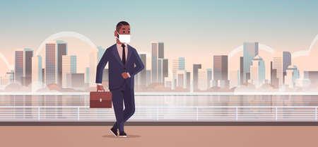 hombre de negocios, llevando, máscara facial, gas tóxico, contaminación del aire, industria, smog, peligro, contaminado, medio ambiente, concepto, hombre de negocios americano africano, ambulante, exterior, paisaje urbano, horizonte, longitud completa, horizontal, vector, ilustración