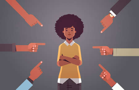 depressed african american girl student being bullied surrounded by hands fingers mocking her peer violence bullying concept flat portrait horizontal vector illustration