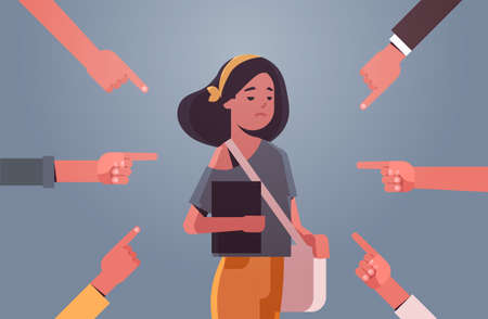 depressed girl student being bullied surrounded by hands fingers mocking her peer violence bullying concept flat portrait horizontal vector illustration