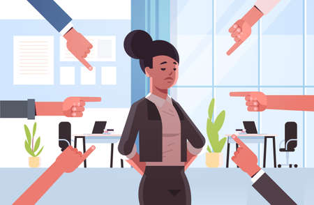 depressed businesswoman being bullied surrounded by hands fingers mocking her peer violence bullying social anxiety concept modern office interior flat portrait horizontal vector illustration Illustration