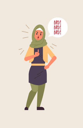 angry arab woman saying NO speech balloon with scream exclamation negation concept furious arabic lady showing sign with finger flat full length vertical vector illustration