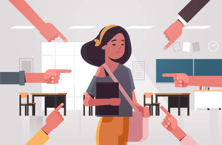 depressed girl student being bullied surrounded by hands fingers mocking her peer violence bullying concept modern school or university classroom interior portrait horizontal vector illustration
