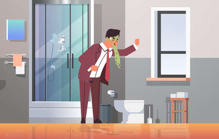 sad businessman with pale face vomiting nausea stomach ache food or alcohol poisoning digestive problem concept man puking feeling sick modern bathroom interior flat full length horizontal vector illustration