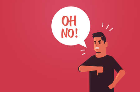 angry unhappy man saying oh NO speech balloon with NO scream exclamation negation concept furious screaming guy showing thumbs down gesture flat portrait horizontal vector illustration