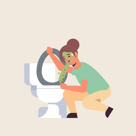 sad woman vomiting in toilet nausea stomach ache food or alcohol poisoning digestive problem concept unhappy girl puking feeling sick flat full length vector illustration