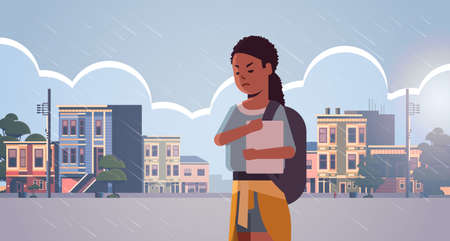 upset lonely female student having anxiety depressed girl with backpack holding book depression stress concept modern city street cityscape background flat portrait horizontal vector illustration