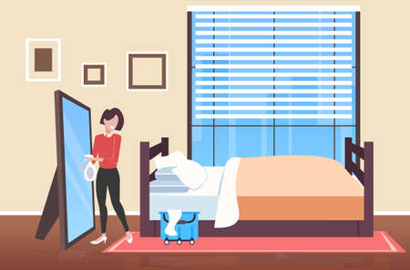 woman cleaner holding rag and spray plastic bottle female janitor spraying and wiping mirror cleaning service concept modern bedroom interior full length sketch horizontal vector illustration