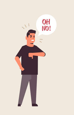angry unhappy man saying oh NO speech balloon with NO scream exclamation negation concept furious screaming guy showing thumbs down gesture flat full length vertical vector illustration