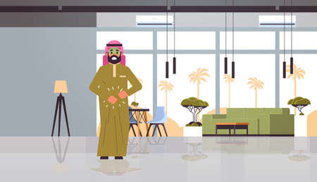 sad arab man with pale face vomit nausea stomach ache food or alcohol poisoning digestive problem concept arabian character feeling sick modern restaurant interior flat full length horizontal vector illustration