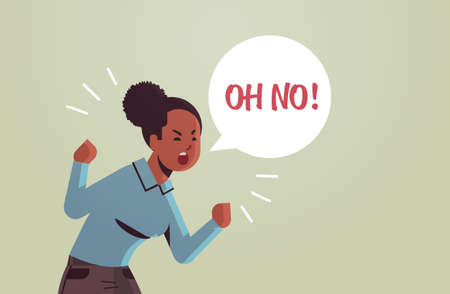 angry unhappy woman saying OH NO speech balloon with NO scream exclamation negation concept furious screaming african american girl raising hands flat portrait horizontal vector illustration