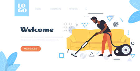 man using vacuum cleaner african american male janitor in uniform vacuuming doing housework cleaning service concept horizontal full length sketch copy space vector illustration