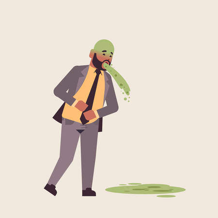 sad businessman with pale face vomiting nausea stomach ache food or alcohol poisoning digestive problem concept unhappy man puking feeling sick flat full length vector illustration