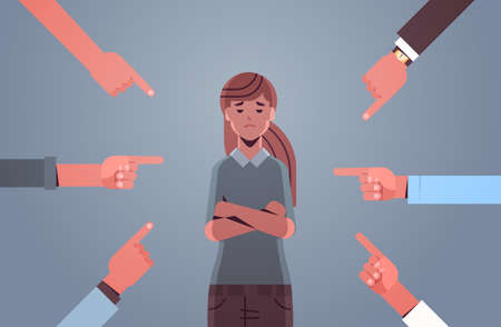 depressed girl teenager being bullied surrounded by hands fingers mocking pointing her peer violence bullying concept flat portrait horizontal vector illustration Illustration