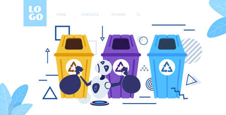 modern robot putting garbage bags in different types of recycling bins segregate waste sorting management artificial intelligence concept sketch horizontal full length vector illustration