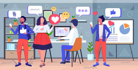 businesspeople discussing during meeting social media network chat bubble communication concept mix race colleagues in co-working center modern office interior sketch full length horizontal vector illustration