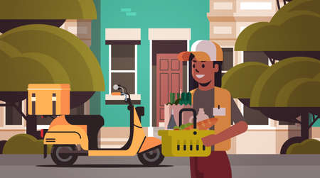 woman courier holding basket with groceries express food delivery from shop or restaurant concept modern house building exterior flat horizontal portrait vector illustration Illustration