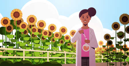 african american woman farmer scientist holding test tube making experiment on sunflowers field research science agriculture farming concept flat horizontal portrait vector illustration Иллюстрация