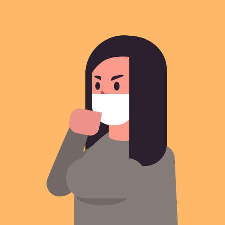 Mujer con mascarilla ambiental polvo de smog industrial contaminación atmosférica tóxica y concepto de protección antivirus personaje de dibujos animados femenino retrato ilustración vectorial plana