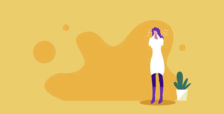lonely sad girl crying and looking unhappy negative human emotion facial expression reaction depression concept woman covering her face sketch full length horizontal vector illustration