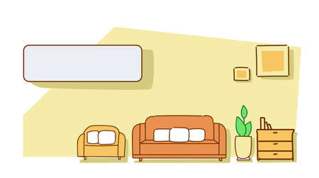 living room interior modern apartment furniture empty no people house colorful sketch doodle horizontal vector illustration Vecteurs