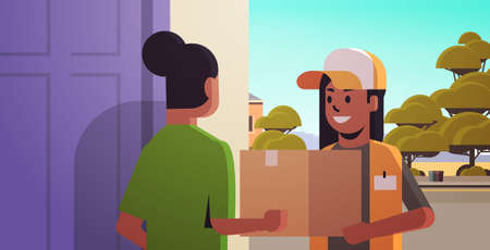 courier woman delivering cardboard parcel box to african american girl recipient at home express delivery service concept horizontal portrait vector illustration