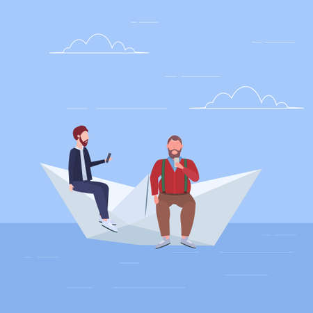 two men floating on paper boat guys using gadgets traveling together digital addiction web surfing concept full length flat vector illustration Banque d'images - 132803159