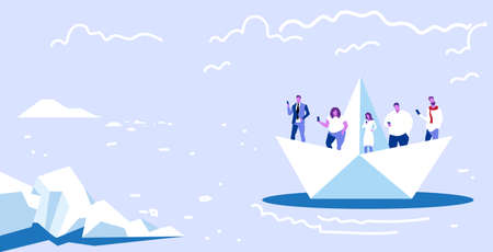 people floating on paper boat men women using gadgets traveling together digital addiction web surfing concept horizontal sketch vector illustration  イラスト・ベクター素材