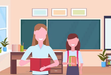 woman teacher with schoolgirl pupil standing over chalkboard modern school classroom interior female cartoon characters portrait horizontal flat vector illustration Vectores