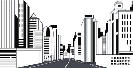highway asphalt road city skyline modern buildings high skyscrapers cityscape background line horizontal vector illustration