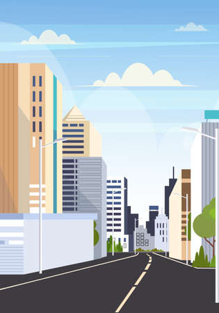 highway asphalt road city skyline modern buildings high skyscrapers cityscape background flat vertical vector illustration Illusztráció
